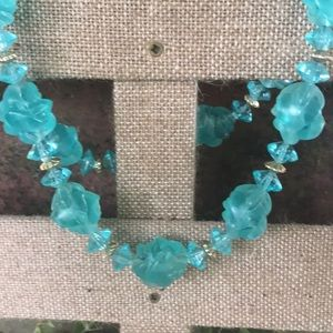 Vintage Teal Aqua silver Beaded Necklace